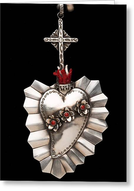 Award Jewelry Greeting Cards - Corazon de Amor y Fe Greeting Card by Gregory Segura