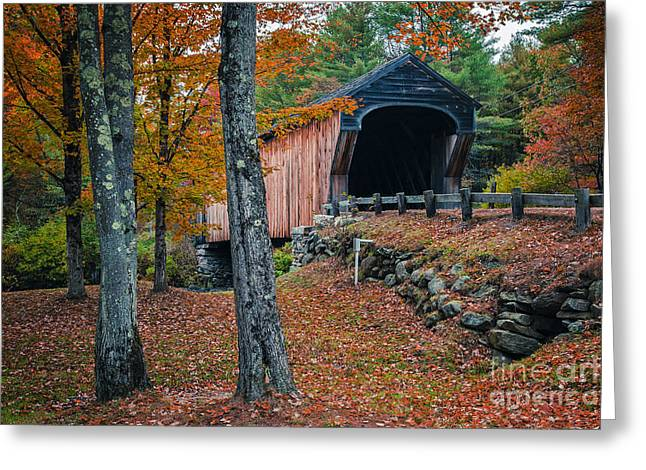 New Hampshire Greeting Cards - Corbin Covered Bridge Newport New Hampshire Greeting Card by Edward Fielding