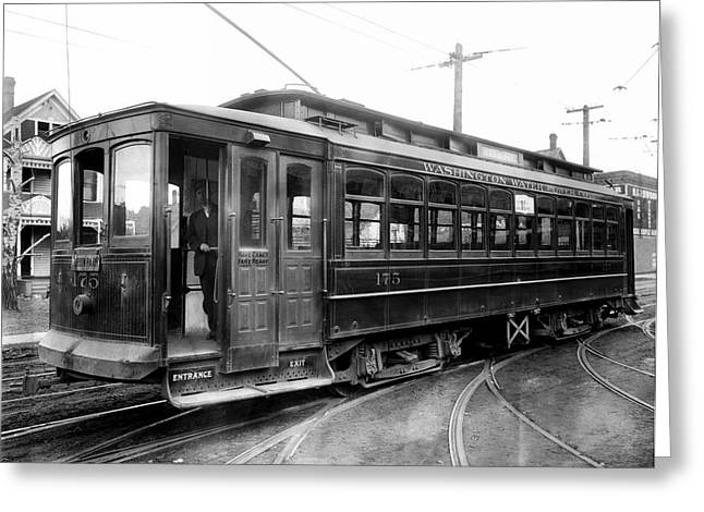 Electric Train Greeting Cards - Corbin Park Street Car No. 175 - 1915 Greeting Card by Daniel Hagerman
