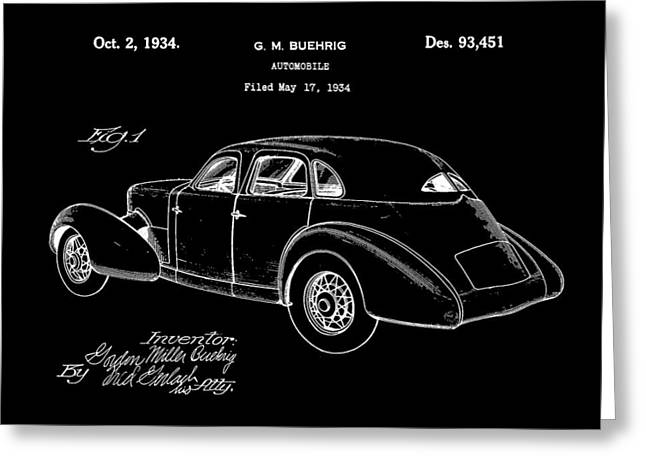 American Automobiles Greeting Cards - Cord Automobile Patent 1934 - Black Greeting Card by Stephen Younts
