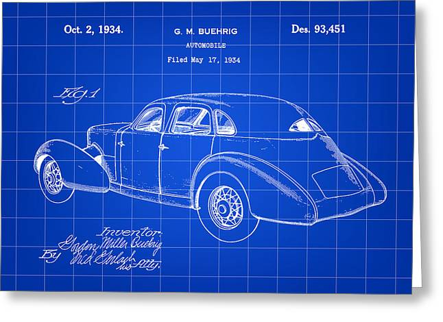American Automobiles Greeting Cards - Cord Automobile Patent 1934 - Blue Greeting Card by Stephen Younts