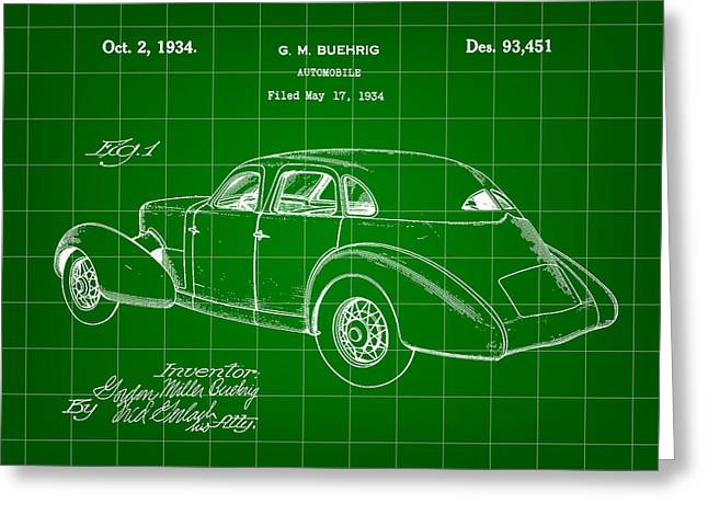 American Automobiles Greeting Cards - Cord Automobile Patent 1934 - Green Greeting Card by Stephen Younts