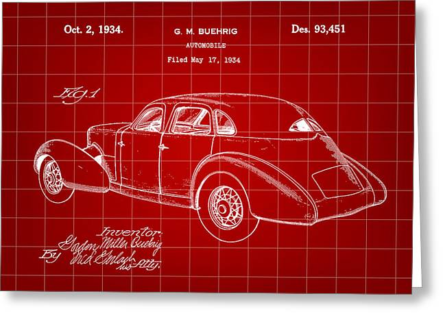 American Automobiles Greeting Cards - Cord Automobile Patent 1934 - Red Greeting Card by Stephen Younts