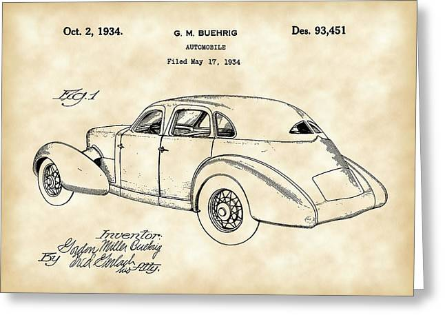 American Automobiles Greeting Cards - Cord Automobile Patent 1934 - Vintage Greeting Card by Stephen Younts