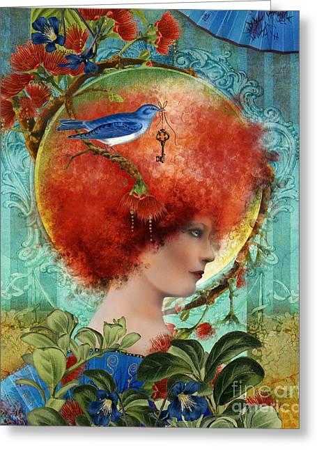 Leaf Hairs Greeting Cards - Cordelia Greeting Card by Aimee Stewart