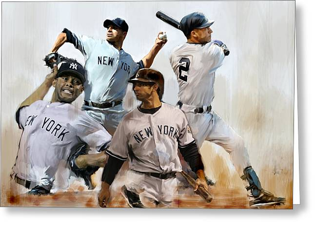 Core  Derek Jeter Mariano Rivera  Andy Pettitte Jorge Posada Greeting Card by Iconic Images Art Gallery David Pucciarelli