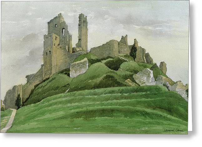 The Hills Greeting Cards - Corfe Castle Greeting Card by Osmund Caine