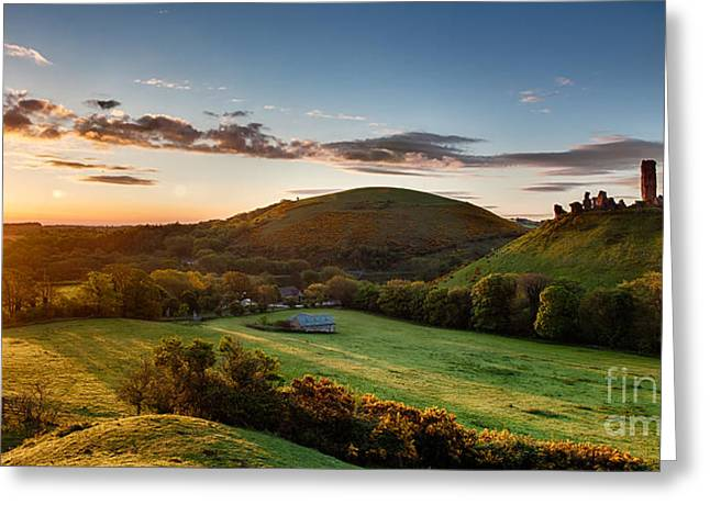 Peaceful Scenery Greeting Cards - Corfe Castle sunrise panoramic Greeting Card by Simon Bratt Photography LRPS