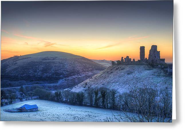 Historic Site Greeting Cards - Corfe Castle Winter sunrise pre-dawn colourburst. Greeting Card by Matthew Gibson