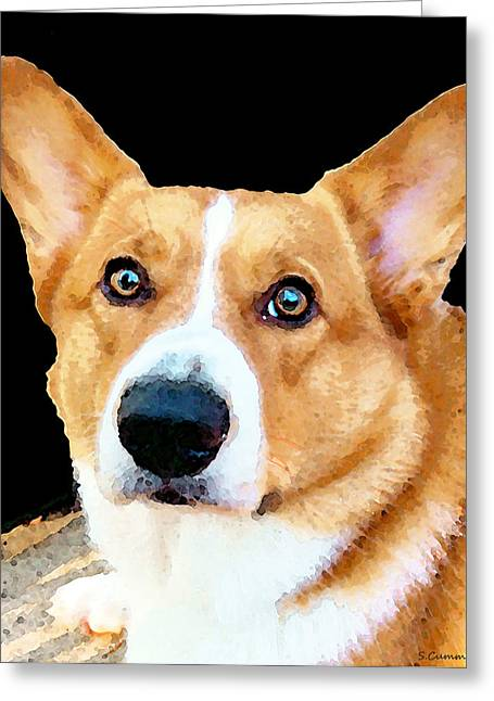 Buy Dog Art Greeting Cards - Corgi Art - Pensive  Greeting Card by Sharon Cummings