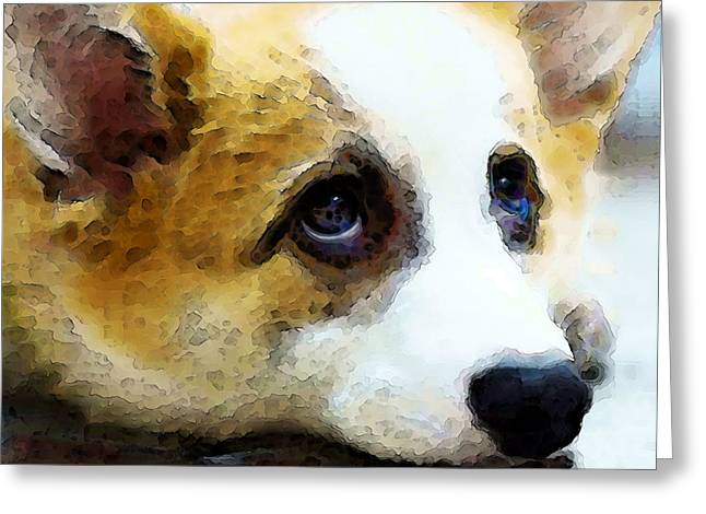 Corgis Greeting Cards - Corgi Art - That Look Greeting Card by Sharon Cummings