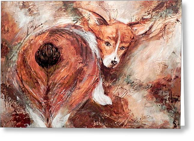 Shed Paintings Greeting Cards - Corgi Butt Greeting Card by Patricia Lintner