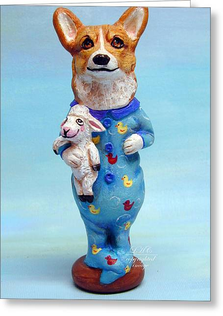 Folk Art Sculptures Greeting Cards - Corgi Cookie please Greeting Card by Lyn Cook