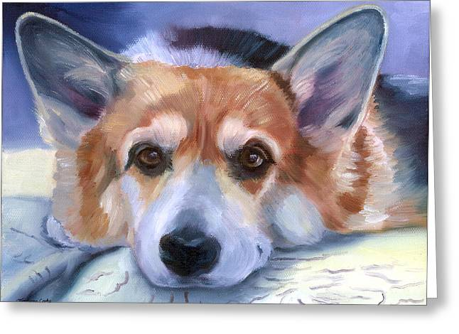 K9 Greeting Cards - Corgi Gazing Greeting Card by Lyn Cook