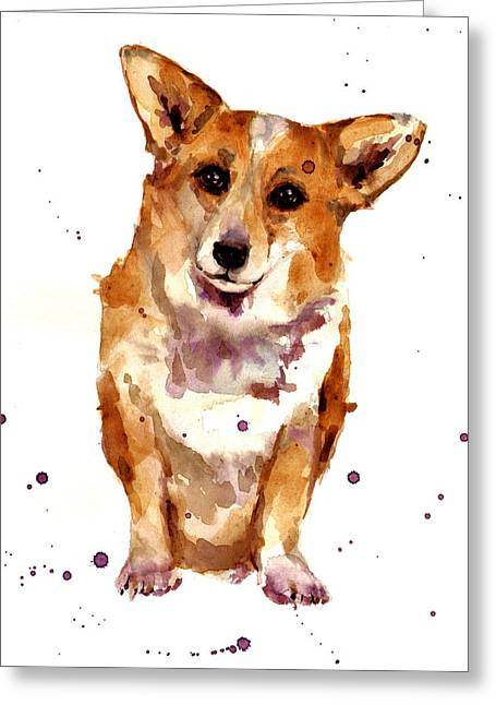 Dog Lovers Greeting Cards - Corgi Lady Greeting Card by Alison Fennell