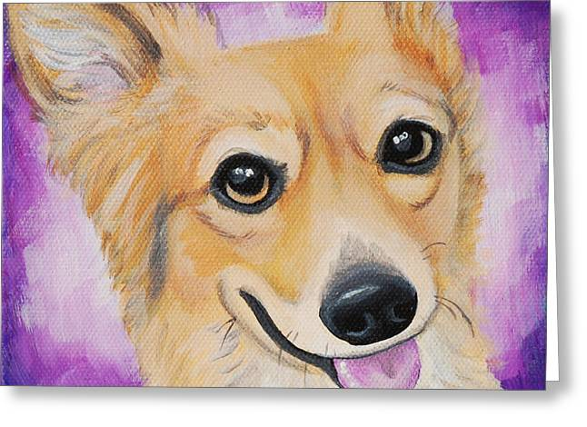 Custom Commissioned Pet Portrait From Photos Greeting Cards - Corgi Love Greeting Card by Lauren Hammack