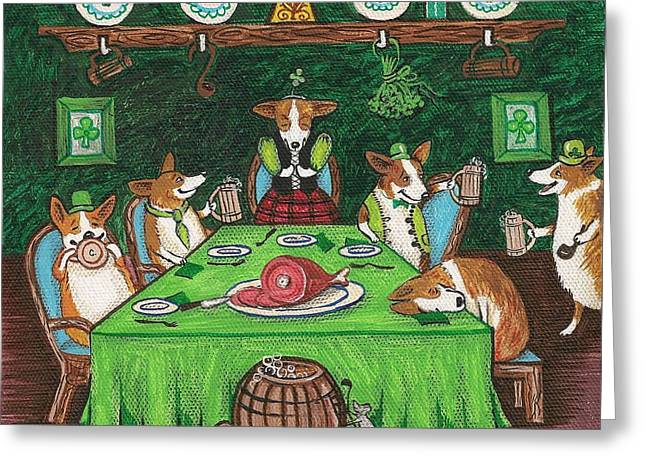 Ryta Greeting Cards - Corgi Pub Greeting Card by Margaryta Yermolayeva