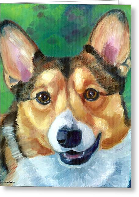 K9 Greeting Cards - Corgi Smile Greeting Card by Lyn Cook