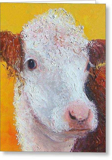 Country Cottage Greeting Cards - Coriander the Cow Greeting Card by Jan Matson