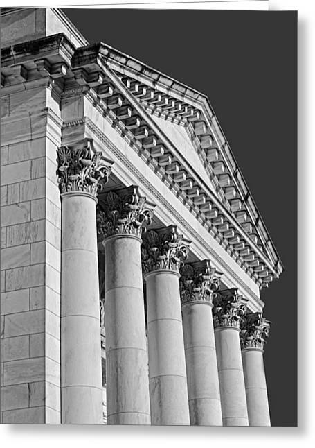 Washington Dc Greeting Cards - Corinthian Columns BW Greeting Card by Susan Candelario