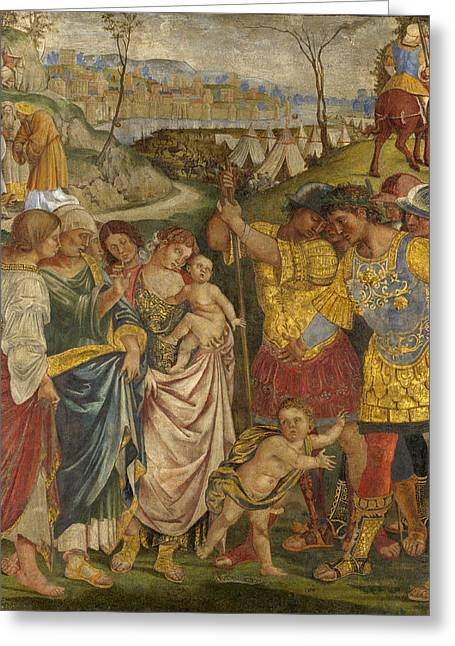 Persuade Greeting Cards - Coriolanus persuaded by his Family to spare Rome Greeting Card by Luca Signorelli