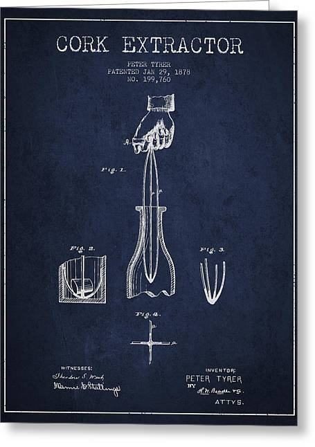 Corkscrew Art Greeting Cards - Cork Extractor patent Drawing from 1878 -Navy Blue Greeting Card by Aged Pixel
