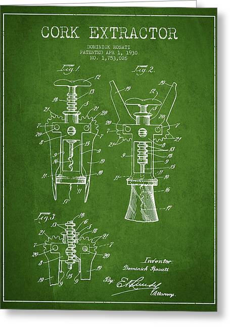 Opener Greeting Cards - Cork Extractor patent Drawing from 1930 - Green Greeting Card by Aged Pixel