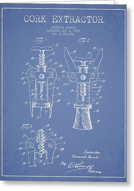 Corkscrew Art Greeting Cards - Cork Extractor patent Drawing from 1930 - Light Blue Greeting Card by Aged Pixel