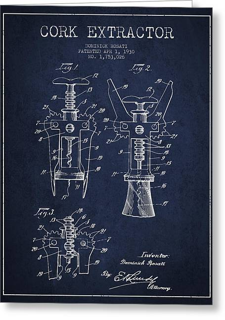 Wine-bottle Digital Greeting Cards - Cork Extractor patent Drawing from 1930 - Navy Blue Greeting Card by Aged Pixel