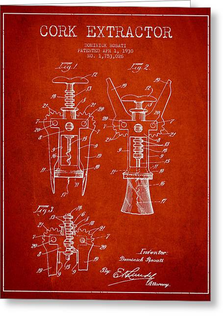 Wine-bottle Digital Greeting Cards - Cork Extractor patent Drawing from 1930 - Red Greeting Card by Aged Pixel