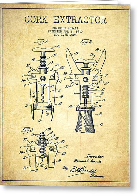 Corkscrew Art Greeting Cards - Cork Extractor patent Drawing from 1930 - Vintage Greeting Card by Aged Pixel