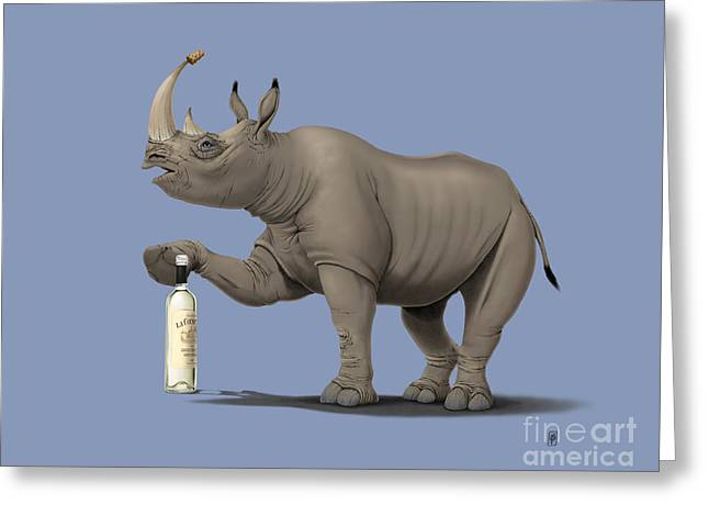 Rhinoceros Mixed Media Greeting Cards - Cork it Durer Colour Greeting Card by Rob Snow