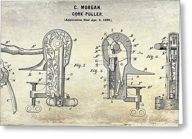 Grape Vineyard Greeting Cards - Cork Puller Patent 1899 Greeting Card by Jon Neidert