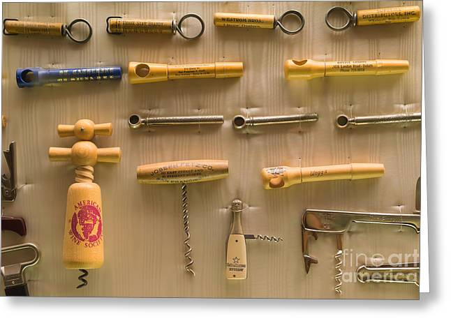 Wine Cork Collection Greeting Cards - Cork Screw Collection St Helena Napa California DSC1712 Greeting Card by Wingsdomain Art and Photography
