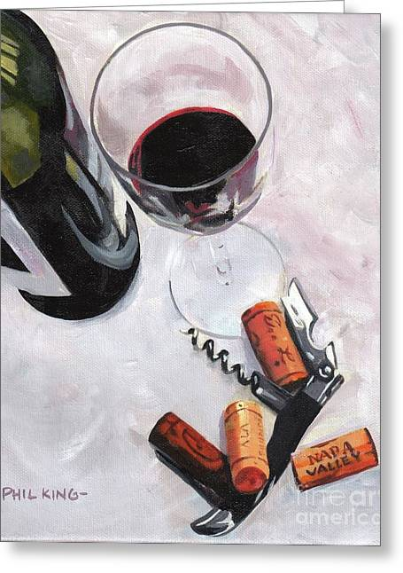 Winebottle Greeting Cards - Corkage Greeting Card by Phil  King