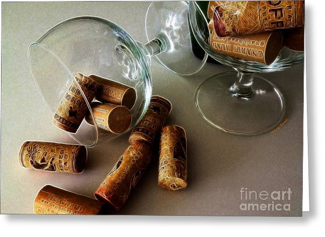 Pinot Noir Greeting Cards - Corks 2 Greeting Card by Cheryl Young