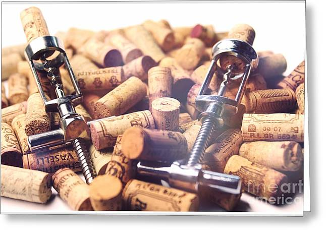 Winetasting Greeting Cards - Corks and Corkscrews  Greeting Card by Stefano Senise