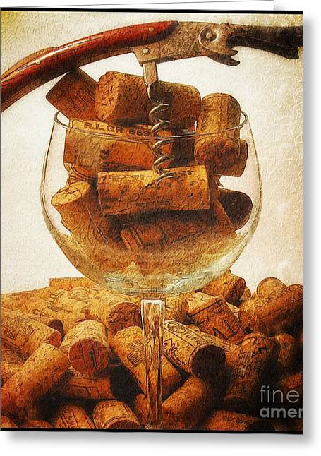 Pull Greeting Cards - Corks and elegant corkscrew Greeting Card by Stefano Senise