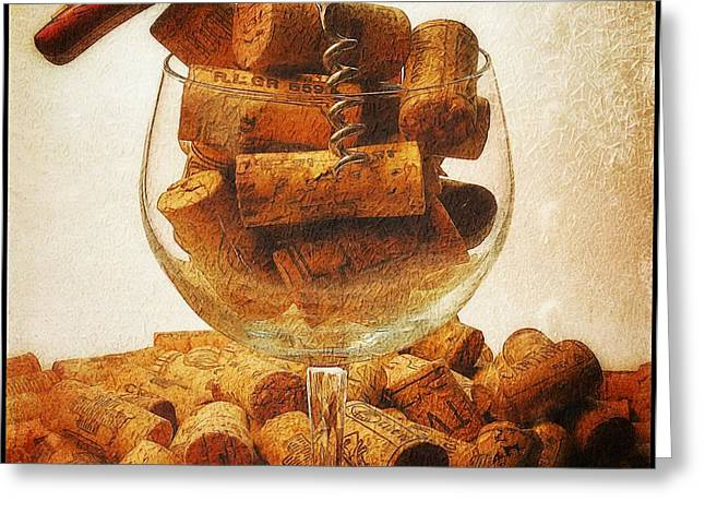 Winetasting Greeting Cards - Corks and elegant corkscrew Greeting Card by Stefano Senise