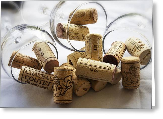 South Of France Greeting Cards - Corks and Glasses Greeting Card by Nomad Art And  Design
