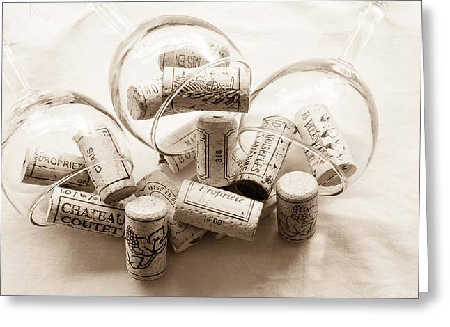 South Of France Greeting Cards - Corks and Glasses toned Greeting Card by Nomad Art And  Design