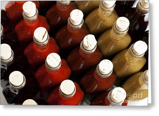 Vinegar Greeting Cards - Corks on hot sauces Greeting Card by Sinisa Botas