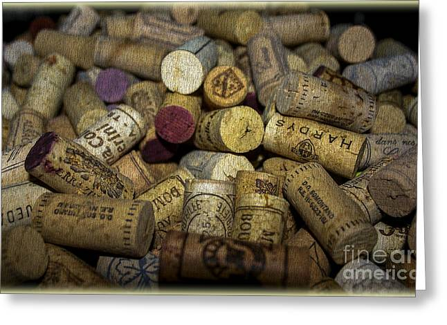 Wein Greeting Cards - Corks Greeting Card by Patricia Hofmeester