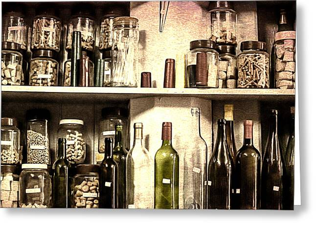 Winebottle Greeting Cards - Corks stored in flasks in a cork shop Greeting Card by Georgina Noronha