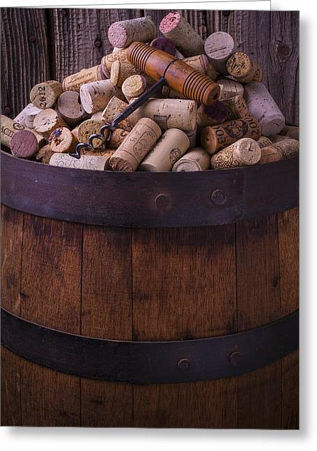 Stopper Photographs Greeting Cards - Corkscrew And Corks On Wine Barrel Greeting Card by Garry Gay