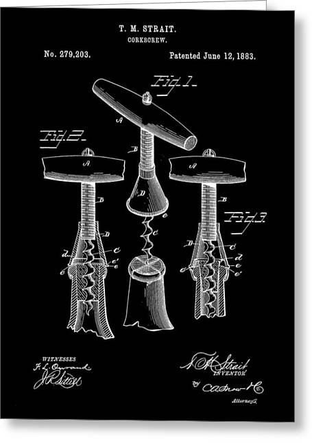 Zinfandel Greeting Cards - Corkscrew Patent 1883 - Black Greeting Card by Stephen Younts