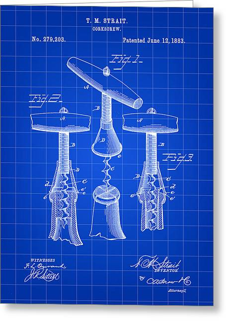 Zinfandel Greeting Cards - Corkscrew Patent 1883 - Blue Greeting Card by Stephen Younts