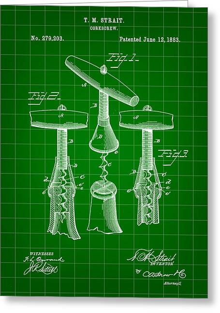 Pinot Digital Art Greeting Cards - Corkscrew Patent 1883 - Green Greeting Card by Stephen Younts