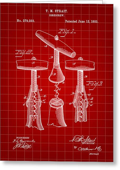 Pinot Digital Art Greeting Cards - Corkscrew Patent 1883 - Red Greeting Card by Stephen Younts