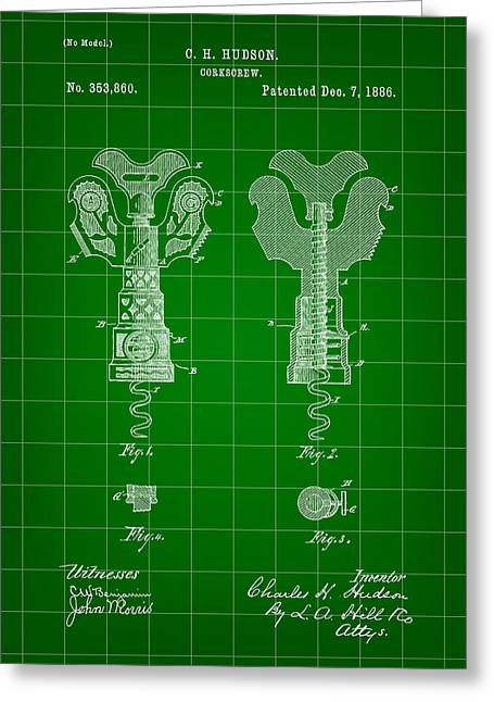 Pinot Digital Art Greeting Cards - Corkscrew Patent 1886 - Green Greeting Card by Stephen Younts